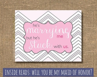 Will you be my Maid of Honor / Pink Chevron / Junior Bridesmaid / Will You Be My Bridesmaid / Flower Girl / Chevron Maid of Honor Card