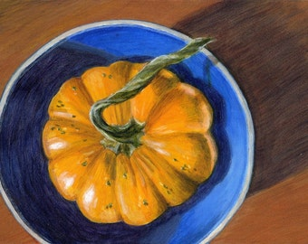Original Acrylic Painting - Small Still Life Painting with Orange Gourd in Blue Bowl