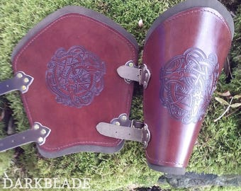 A Pair of Engraved Leather Vambraces suitable for Larp, Cosplay and Costume. Zoomophic shape