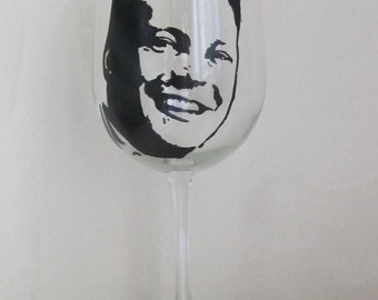 Hand Painted Wine Glass - VINCE VAUGHN, Actor, Comedian, Producer