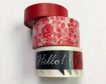 Washi tape 3 pack 5 yards each Red Mix - hello