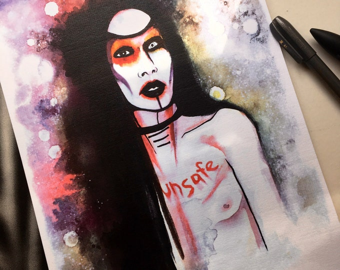 Marilyn Manson Art print Unsafe