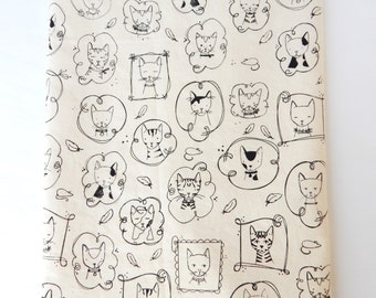 Kitchen Towel, Hand Printed, Cats, Natural Cotton, Choose Your Color