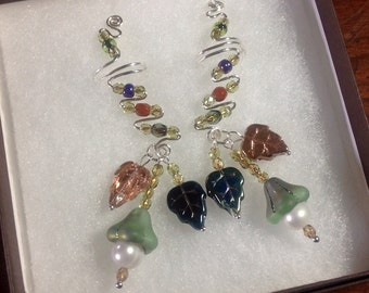 Colors of Nature Drop Ear Cuffs from Sterling Silver, Freshwater Pearls and delicate Czech beads. No ear piercings needed and comfortable