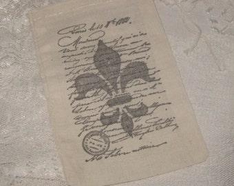 Muslin Favor Pouches Vintage Inspired Paris Fleur De Lis French Script Muslin Gift Pouches