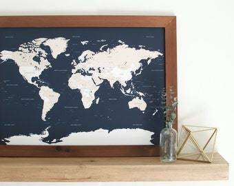 Small World Map, Push Pin Map, Framed World Map, Travel Map, Custom World Map, Personalized Gift, Gift for Men, Gifts for Dad, Custom Father