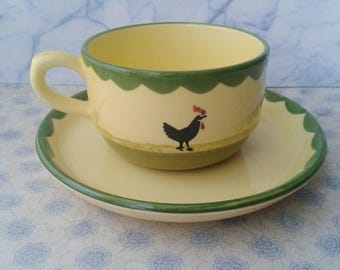 Zeller Fayencerie, cup and saucer, Rooster and Chicken, Made in Germany