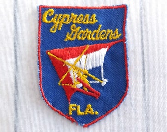 "As Is Used Vintage Cypress Gardens Souvenir Patch 2.6"", Florida Theme Park Collectible, Hang Glider, Water Skiing, Winter Haven Memorabilia"