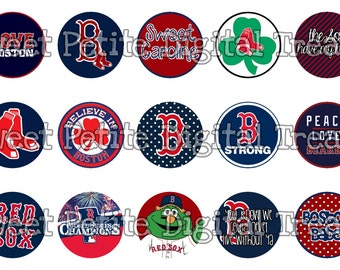 "INSTANT DOWNLOAD 1"" MLB Boston Red Sox Bottle Cap Images"