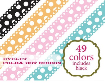 Ribbon Clip Art polka dot digital ribbon scrapbooking scallop clipart baby red orange pink blue purple yellow: c0083 v301 black white