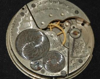 Gorgeous Vintage Antique Elgin Watch Pocket Watch Movement Porcelain face Steampunk SM 46