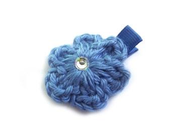 Blue Hair Clip Blue Flower Crochet Flower Hair Clip Blue Barrette Baby Girl Hair Clip Baby Hair Clip Toddler Girl Spring Hair Clip Summer