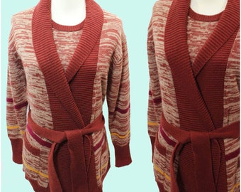 Vintage 70s Rusty Brown Space Dye Vest and Shawl Cardigan Combo