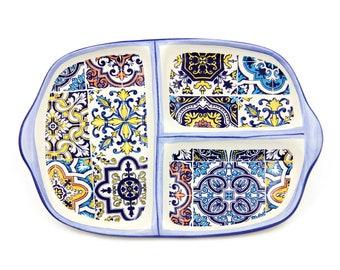 Hand-painted Portuguese Decorative Ceramic Divided Appetizer Dish