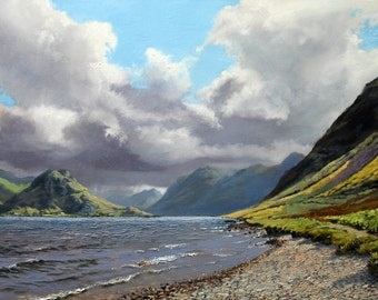 Landscape print of my original oil painting of the Lake district, wall art, home decor, oil painting, landscape, realistic art