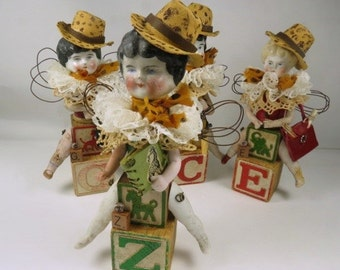 "Art Doll, ""Zelda, a Safari Sister"", Assemblage Doll with Antique Doll Parts and Vintage Blocks,"