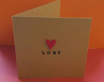 Love (red felt heart) Valentines square recycled paper gift card