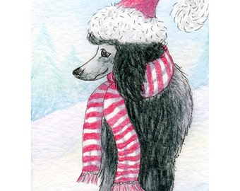 Poodle in hat and scarf 8x10 art print