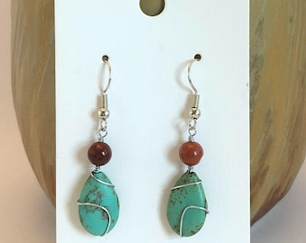 Wire wrapped drop earrings - simple wire wrapped aqua magnesite tear drop bead topped with round res jasper bead dangle earrings