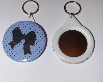 key button with mirror on the back 58mm, polka dots and blue bow (other color)