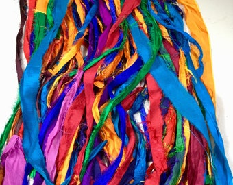 Recycled Sari Silk Ribbon Multicolor Rainbow Colors Garland Tassels Eco Gift Wrap Dreamcatcher Craft Ribbon Jewelry Fair Trade  Supply