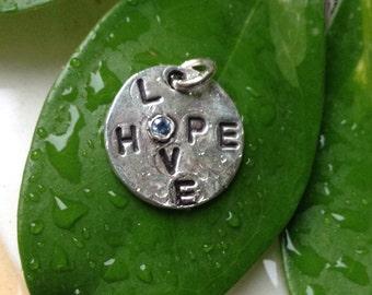 Fine Silver Natural Sapphire Love Hope Pendant