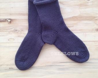HandKnit Socks in Steel Grey Gray fits US size 10 to 12 Man of Steel Mr Steele Fabulous Funky Footwear