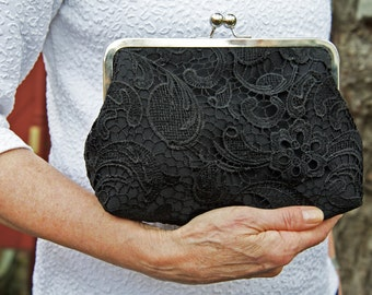 Black Lace Bridal Clutch, Mother of the Bride Satin Wedding Purse, Lace Bridesmaid Clutch, Eight inch Frame,