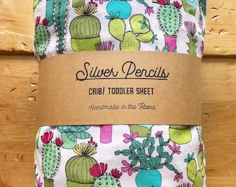 Happy Cactus Sheet, Southwestern, Crib, Succulent, Desert, Green, Pink, Nursery, Gift, Toddler Fitted Sheet, Bedding