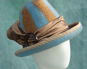 Victorian Witch Hat - Hand Felted Merino Wool - Orange - Blue - Stripes - Silk Band