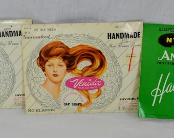 Lot of 3 Vintage 1960s Hair Nets - 2 Venida Cap Shape Hair Nets With Real Hair Grey and White  and 1 Annette Nylon Bobbed Size with Elastic