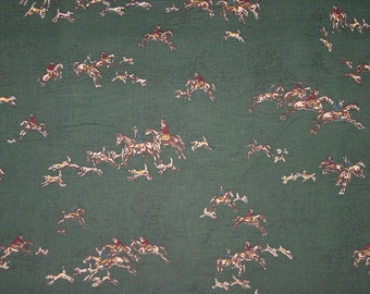 Judie Rothermel for Marcus Brother  Super Rare OOP Equestrian Horse Fabrics Fox Hollow Hunt Scene Hunter Green New