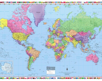 """WORLD Wall Map Poster 54""""x36"""" - Rolled Paper - 2018"""