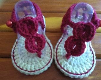SALE crochet baby girl sandals/flipflop