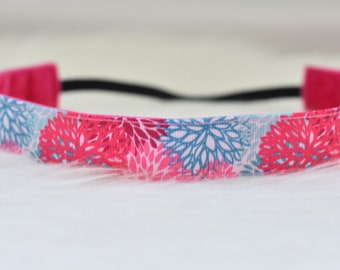 Spring Has Sprung Blue and Pink Flowers Nonslip Headband // No Slip - Nonslip - Non slip - Spring - Flowers - Birthday Gift