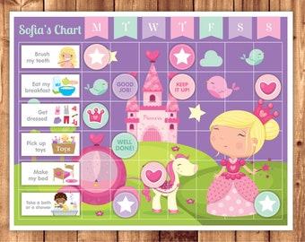 Printable Princess Chart + Chores + Behavior + Routine