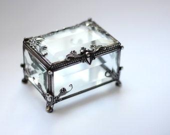 Glass Box, engagement ring box, rectangular glass box, stained glass box, wedding ring box, ring box, ring holder, jewelry box,