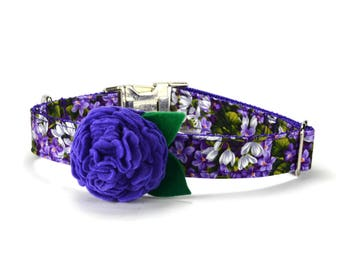 Purple Floral Bloom Dog Collar With Orchid Bloom, Flower Dog Collar, Floral Dog Collar, Felt Flower Dog Collar, Girl Dog Collar