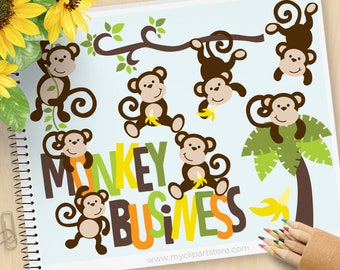 Monkey Clipart, Monkey Business, Cute monkeys, boy monkey, woodland animals, jungle animals, Commercial Use, Vector clip art, SVG Files