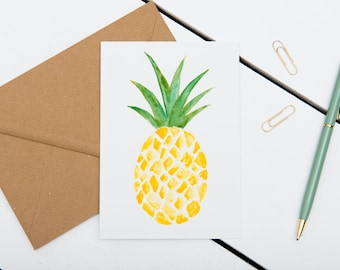 Pineapple Cards // 1 pack / 5 pack / 10 pack // A6 Greetings Card // Blank Tropical Watercolour Cards
