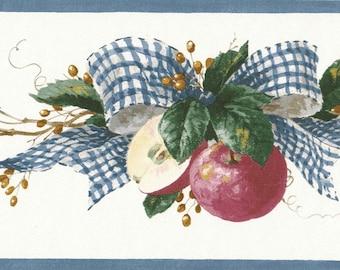 Gingham Bow Country Red Apple Berries Vine Primitive Folk Art Wallpaper Border