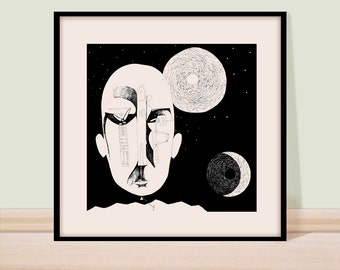 Pen and ink drawing/ Black and white/ Modern art/ Black ink wall art/ Giclee print/ Surreal art drawing/ Figure drawing/ Child with a kite.