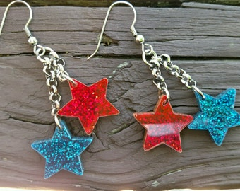 4th of July Earrings / Earrings / Star Earrings / Red White and Blue /4th of July / 4th of July Jewelry