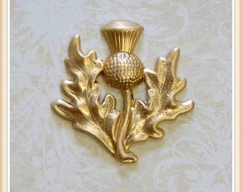 4 pcs raw brass thistle scottish embellishment ornament E194