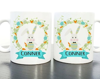 Personalised Children's Boy Polymer Easter Bunny Mug