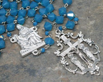 Crystal Rosary of Swarovski Crystals in Pacific Opal, 5 Decade Rosary, Catholic Rosary, Pieta Rosary, Large Size Rosary