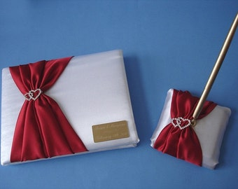 Personalized Wedding Guest Book and Pen Set in White and Red with Linked Hearts and Engraving