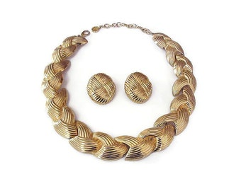 1980s Givenchy Gold Wide Ribbed Necklace Earrings - Gold Tone, Vintage Necklace, Vintage Earrings, Glam Jewelry, Designer Jewelry