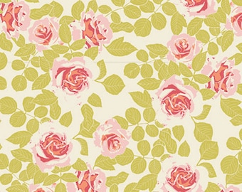 Cotton Jersey Knit - Cultivate Pruning Roses Fabric - Citrus - Sold by the 1/2 Yard