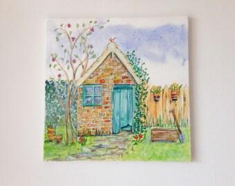 Garden Shed, Original Painting, Garden Painting, Original Canvas